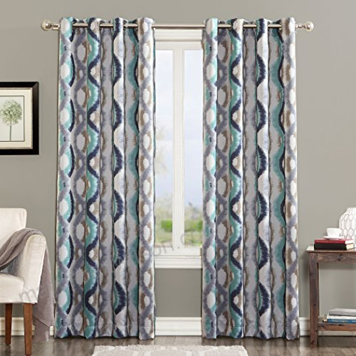 Sun Zero Burbank Geometric Ogee Watercolor Print Energy Throughout Geometric Print Textured Thermal Insulated Grommet Curtain Panels (View 37 of 45)