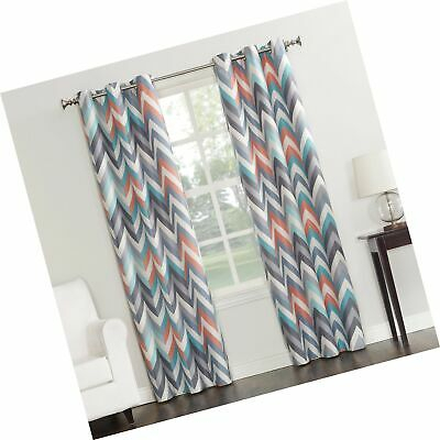 "Sun Zero Genaro Chevron Print Thermal Insulated Grommet Curtain Panel, 40""  X  692759226093 | Ebay Within Geometric Print Textured Thermal Insulated Grommet Curtain Panels (View 38 of 45)"