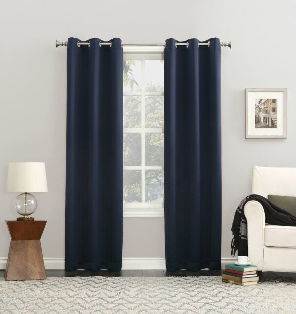 Sun Zero Lichtenberg Blackout Grommet Window Curtain Panel Blue Navy 40 X 84 Throughout Blackout Grommet Curtain Panels (View 16 of 40)