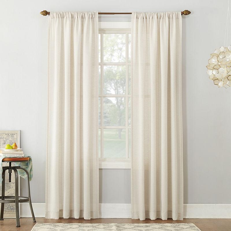 Sun Zero Linen Blend Textured Sheer Rod Pocket Curtain Panel – No (View 32 of 50)
