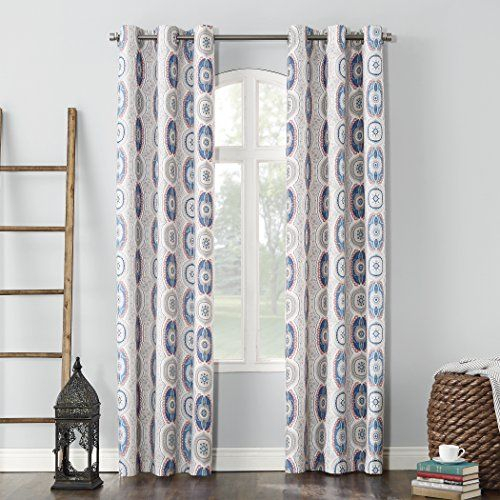 Sun Zero Santana Folklore Print Thermal Insulated Energy Inside Geometric Print Textured Thermal Insulated Grommet Curtain Panels (View 39 of 45)