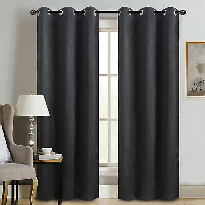 """Sun+Block Thermal Weave Embossed Blackout Grommet Single Curtain Panel  42""""x84"""" 