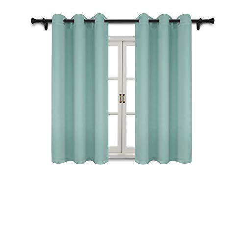 Suo Ai Textile Thermal Insulated Curtains Blackout Grommet Curtain Panels  For Living Room 42X63 Inch Aqua 1 Curtain Pair Pertaining To Blackout Grommet Curtain Panels (View 33 of 40)