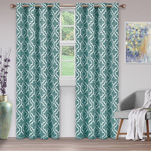 "Superior 52X108Ct Tre Tl Trellis Collection Quality Soft, Insulated,  Thermal, Woven Blackout Grommet Printed Curtain Panel Pair (Set Of 2) 52"" X  108"" Intended For Insulated Thermal Blackout Curtain Panel Pairs (#37 of 50)"