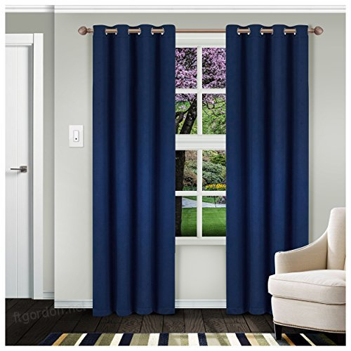 Superior Solid Blackout Curtain Set Of 2, Thermal Insulated Regarding Superior Leaves Insulated Thermal Blackout Grommet Curtain Panel Pairs (#41 of 50)