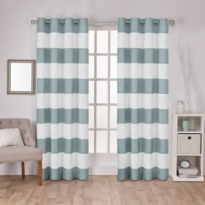 Popular Photo of Ocean Striped Window Curtain Panel Pairs With Grommet Top