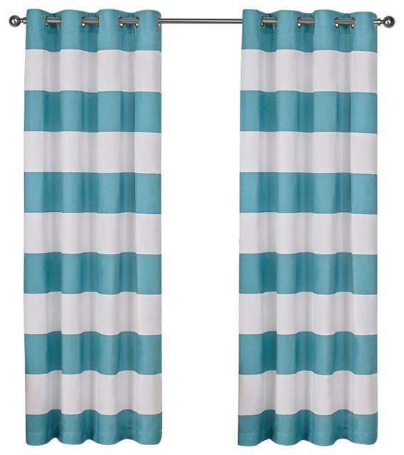 """Surfside Grommet Top Curtain Panels, Set Of 2 / Panel Pair 2 – 54"""" X 96"""", Teal Regarding Ocean Striped Window Curtain Panel Pairs With Grommet Top (View 4 of 41)"""