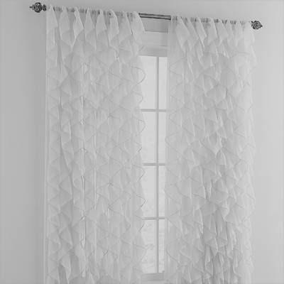 Sweet Home Collection Chic Sheer Voile Vertical Ruffle With Regard To Sheer Voile Waterfall Ruffled Tier Single Curtain Panels (#40 of 50)