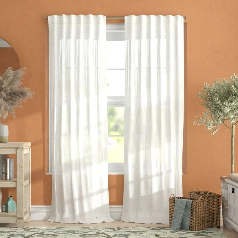 Tab Top Curtain Panels Solid Sheer Kater Twisted Voile White Pertaining To Solid Cotton Curtain Panels (View 28 of 47)
