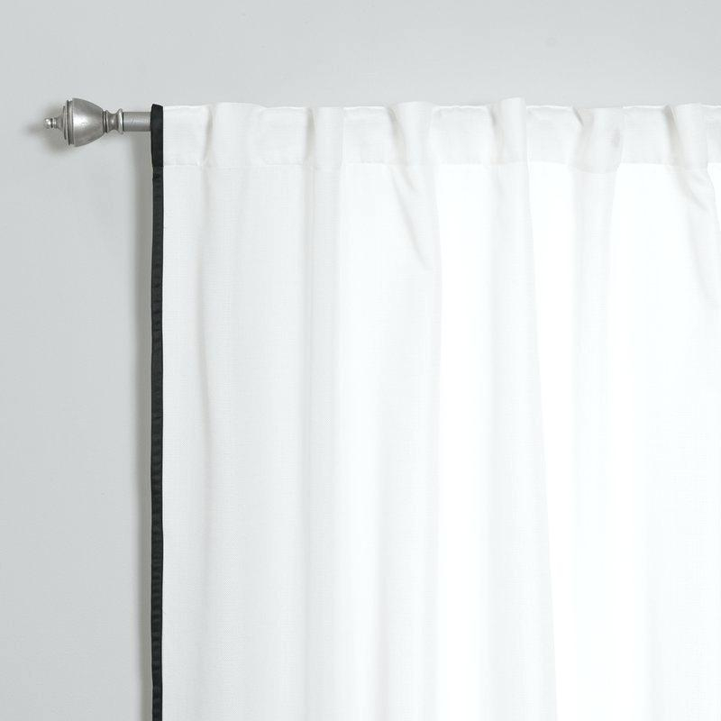 Tab Top Curtain Panels Thin Border Polyester Solid Semi Inside Solid Cotton Curtain Panels (View 36 of 47)