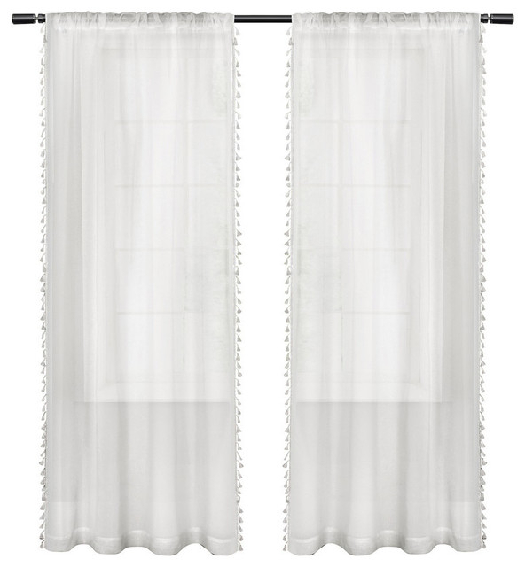Popular Photo of Tassels Applique Sheer Rod Pocket Top Curtain Panel Pairs