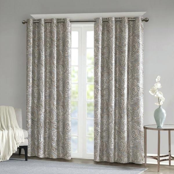 Taupe Blackout Curtains Geometric Room Darkening Window In Geometric Linen Room Darkening Window Curtains (View 44 of 50)