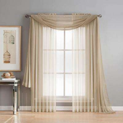 Taupe Valance Curtain Diamond Erica Crushed Sheer Voile With Regard To Erica Crushed Sheer Voile Grommet Curtain Panels (#48 of 50)