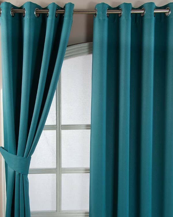 Teal Blackout Curtains – Gathedral Pertaining To Mid Century Geo Room Darkening Window Curtain Panel Pairs (View 40 of 43)