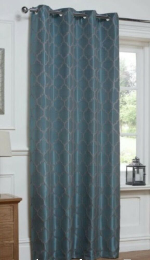 "Teal Grey Lattice Print Moroccan Eyelet Ring Top Curtain Panel 54"" X 86""  Door 
