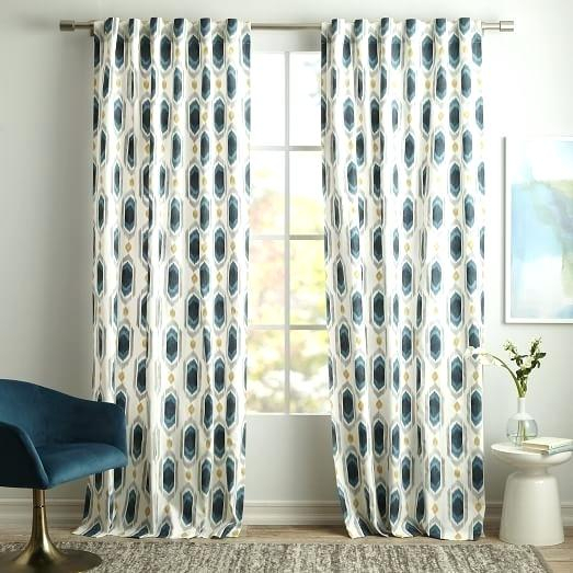 Teal Ikat Curtains – Yunshu In Ikat Blue Printed Cotton Curtain Panels (#46 of 50)