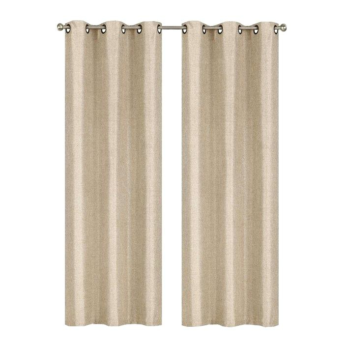 Textured Curtain Panels Linen Textured Curtain Panel In Intersect Grommet Woven Print Window Curtain Panels (View 24 of 50)