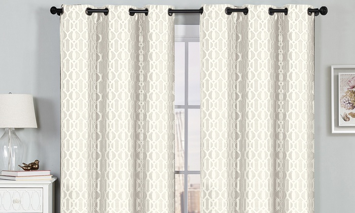 """Textured Geometric Jacquard 76""""x84"""" Or 76""""x96"""" Grommet Window Panel Pairs  (2 Pack) Intended For Curtain Panel Pairs (View 23 of 26)"""