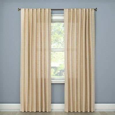 Textured Weave Back Tab Window Curtain Panel – Threshold For Bark Weave Solid Cotton Curtains (View 42 of 50)