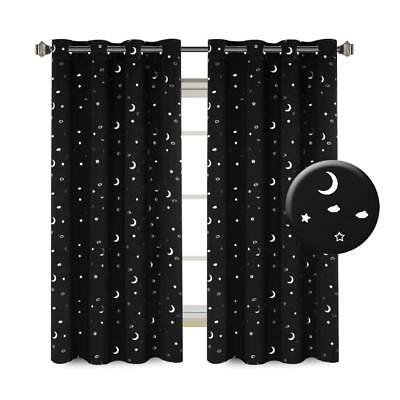 Thermal Insulated 100% Blackout Curtains Moon And Star Inside Superior Leaves Insulated Thermal Blackout Grommet Curtain Panel Pairs (#43 of 50)