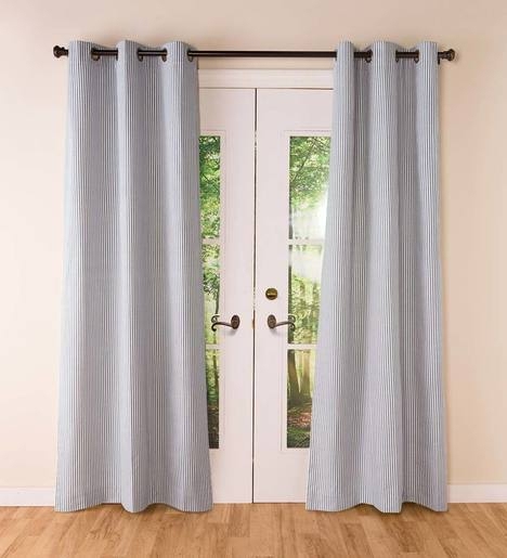 Thermalogic Insulated Ticking Stripe Grommet Top Curtain Pairs For Insulated Cotton Curtain Panel Pairs (#39 of 50)