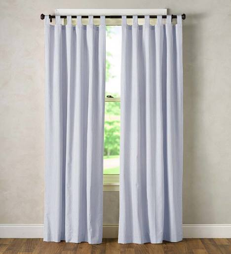 Thermalogic Insulated Ticking Stripe Tab Top Curtain Pairs In Insulated Cotton Curtain Panel Pairs (#40 of 50)