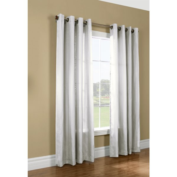 Thermavoile 95 In White Polyester Grommet Room Darkening Thermal Lined  Single Curtain Panel Intended For Grommet Room Darkening Curtain Panels (View 42 of 50)