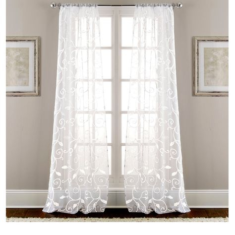 These Stunning Sheen Curtains Offer A Leaf Swirl Design Within Vina Sheer Bird Single Curtain Panels (#31 of 38)