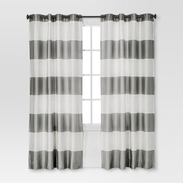 Threshold Gray White Bold Striped Curtain Panel Intended For Ocean Striped Window Curtain Panel Pairs With Grommet Top (#39 of 41)
