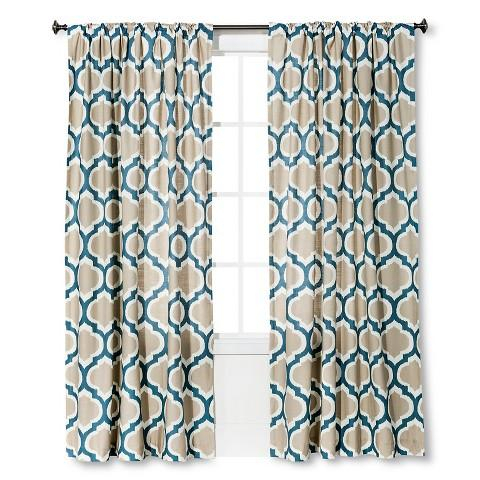 Threshold Linen Look Fretwork Curtain Panel In Blue And Beige Throughout Fretwork Print Pattern Single Curtain Panels (View 17 of 46)