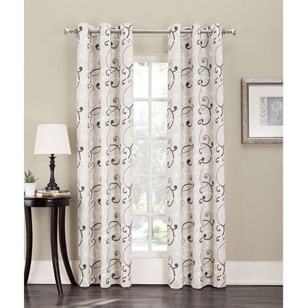 Tilda Scroll Print Grommet Curtain Panel, 48 Inch X 84 Inch With Regard To Overseas Leaf Swirl Embroidered Curtain Panel Pairs (View 34 of 50)