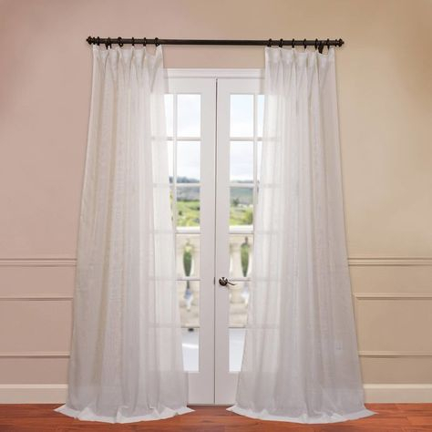 Popular Photo of Double Layer Sheer White Single Curtain Panels