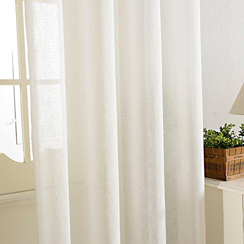 Top Finel Faux Linen Semi Sheer Window Curtain Panels For For Ombre Faux Linen Semi Sheer Curtains (#46 of 50)