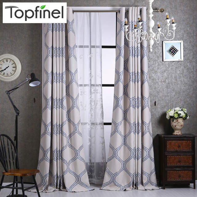 Top Finel Luxury Geometric Linen Curtains For Living Room Bedroom Home  Fashion Window Curtains Blackout Curtain Draperies Panel Inside Geometric Linen Room Darkening Window Curtains (View 46 of 50)
