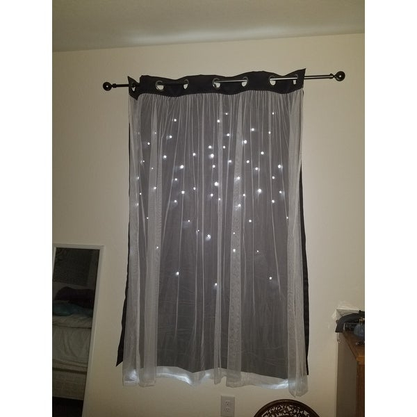Top Product Reviews For Aurora Home Star Punch Tulle Overlay Intended For Star Punch Tulle Overlay Blackout Curtain Panel Pairs (View 14 of 50)