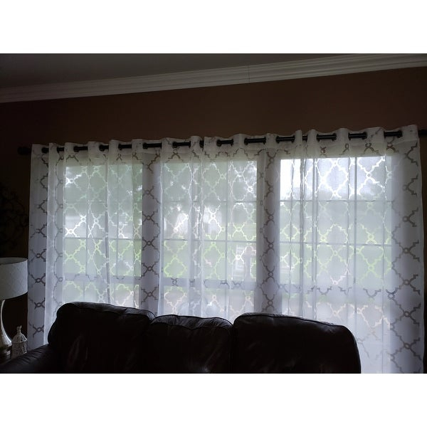 Top Product Reviews For Madison Park Laya Fretwork Burnout Inside Laya Fretwork Burnout Sheer Curtain Panels (View 5 of 38)