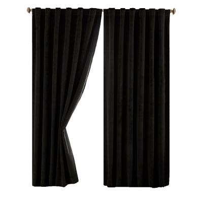 Total Blackout Faux Velvet Curtain Panel Intended For Warm Black Velvet Single Blackout Curtain Panels (#44 of 48)