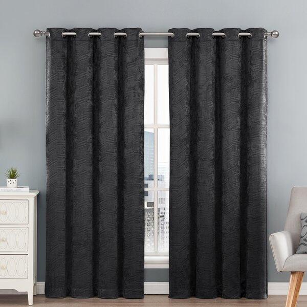 Popular Photo of Chevron Blackout Grommet Curtain Panels