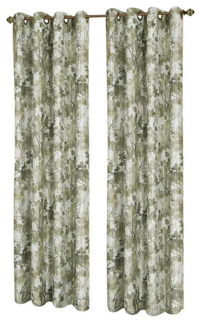 "Tranquil, Lined Grommet Window Curtain Panel, 50""x63"", Green Within Lined Grommet Curtain Panels (#29 of 31)"