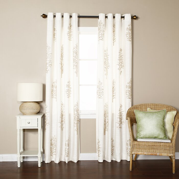 Tree Embroidered Faux Linen Nature/floral Semi Sheer Grommet Curtain Panels Intended For Ombre Faux Linen Semi Sheer Curtains (#47 of 50)