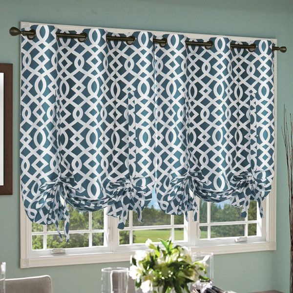 Trellis Grommet Tie Up Shade | Home Curtains (Teal, Aqua In Prescott Insulated Tie Up Window Shade (View 9 of 45)