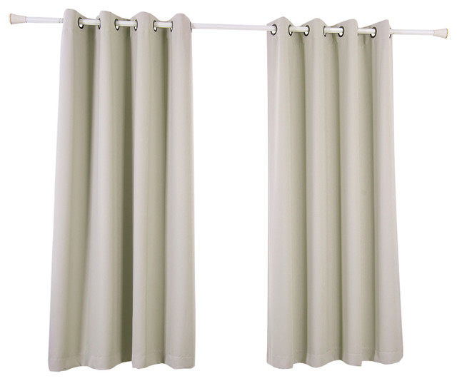 "Tripoli Solid Insulated Thermal Blackout Grommet Window Panels, Oyster, 63"" In Solid Insulated Thermal Blackout Curtain Panel Pairs (View 12 of 50)"