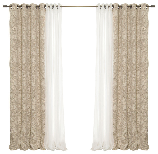Tulle And Paisley Blackout Curtains, Brown Pertaining To Mix & Match Blackout Tulle Lace Bronze Grommet Curtain Panel Sets (View 41 of 50)