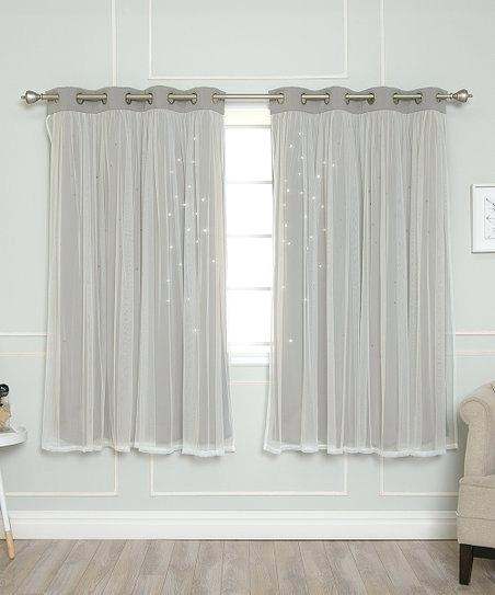 Tulle Blackout Curtains – Jelajah In Star Punch Tulle Overlay Blackout Curtain Panel Pairs (#49 of 50)