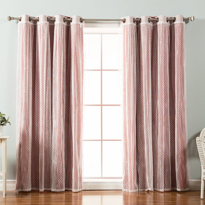 Tulle Lace Polka Dots Blackout Thermal Grommet Curtain Panels With Regard To Mix & Match Blackout Tulle Lace Bronze Grommet Curtain Panel Sets (View 11 of 50)