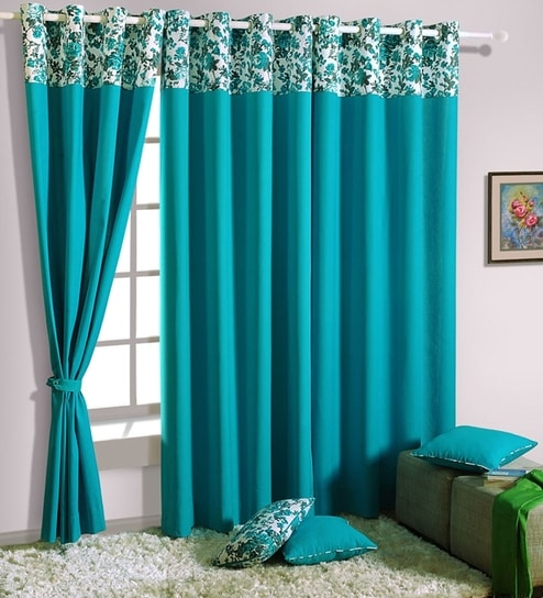 Turquoise Blue Curtains Awesome Buy Solid Cotton 5 Feet Intended For Solid Cotton Curtain Panels (View 40 of 47)