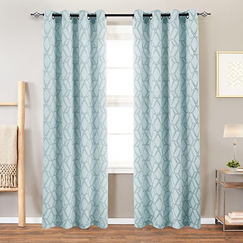 """Turquoise Curtains For Living Room Curtain Panels Jacquard Contemporary  Lattice Grommet Window Treatment Set For Bedroom 2 Panels 95"""" Length With Regard To Grommet Curtain Panels (View 35 of 39)"""