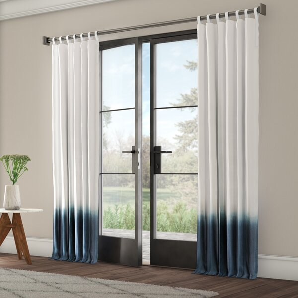 Turquoise Ombre Curtains | Wayfair Inside Ombre Stripe Yarn Dyed Cotton Window Curtain Panel Pairs (View 7 of 31)