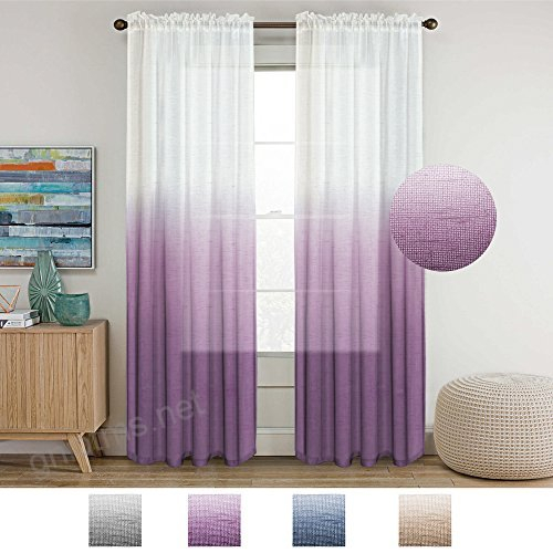 Turquoize Semi Sheer Plum Curtains For Bedroom Casual Weave With Ombre Faux Linen Semi Sheer Curtains (#48 of 50)