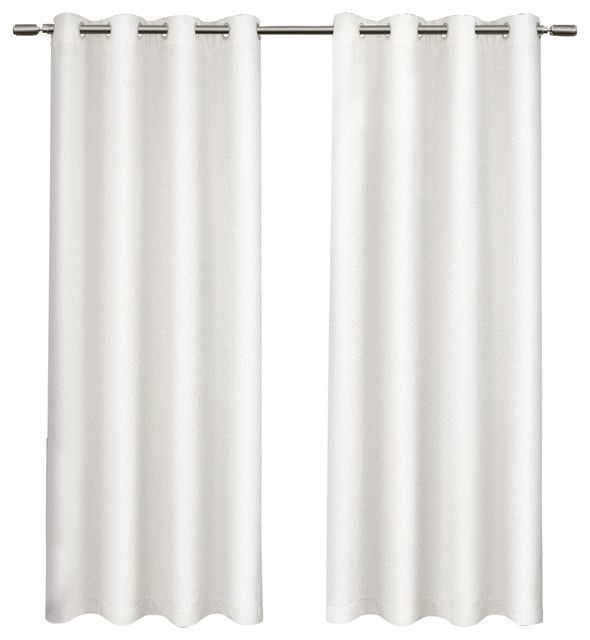 """Tweed Textured Linen Blackout Grommet Curtain Panel Pair, Winter White,  52""""x 84"""" With Regard To Thermal Rod Pocket Blackout Curtain Panel Pairs (#47 of 50)"""